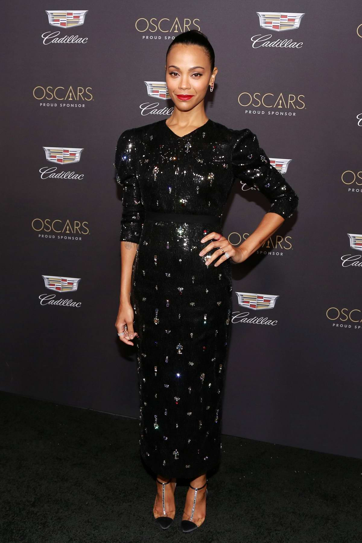 Zoe Saldana attends Cadillac Celebrates The 91st Annual Academy Awards held at the Chateau Marmont in West Hollywood, Los Angeles