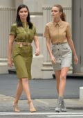 Adriana Lima and Josephine Skriver seen on set for a Maybelline photoshoot in New York City