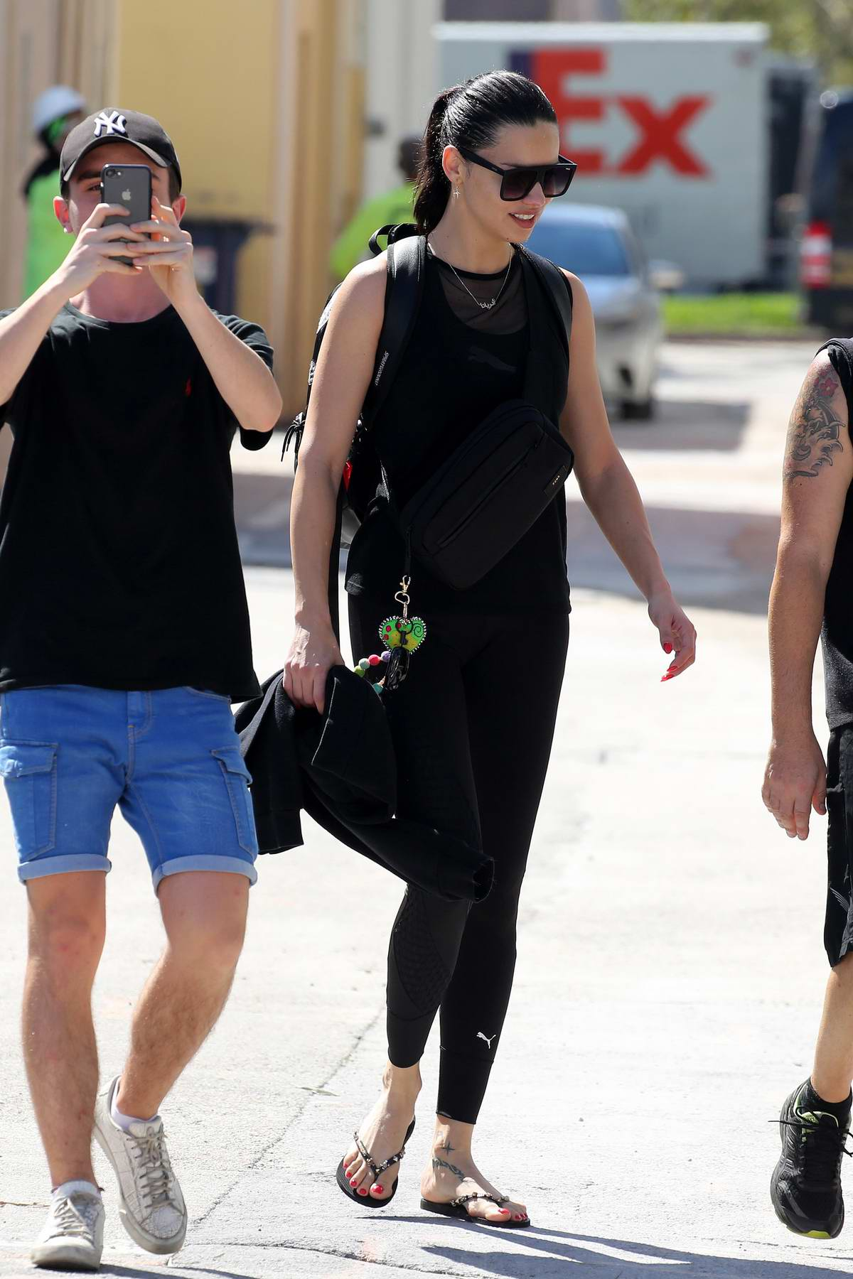 Adriana Lima wears a black Puma outfit as she leaves a workout in Miami, Florida