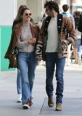 Alessandra Ambrosio and Nicolo Oddi are all smiles as they have brunch at the Hillstone Restaurant in Santa Monica, California