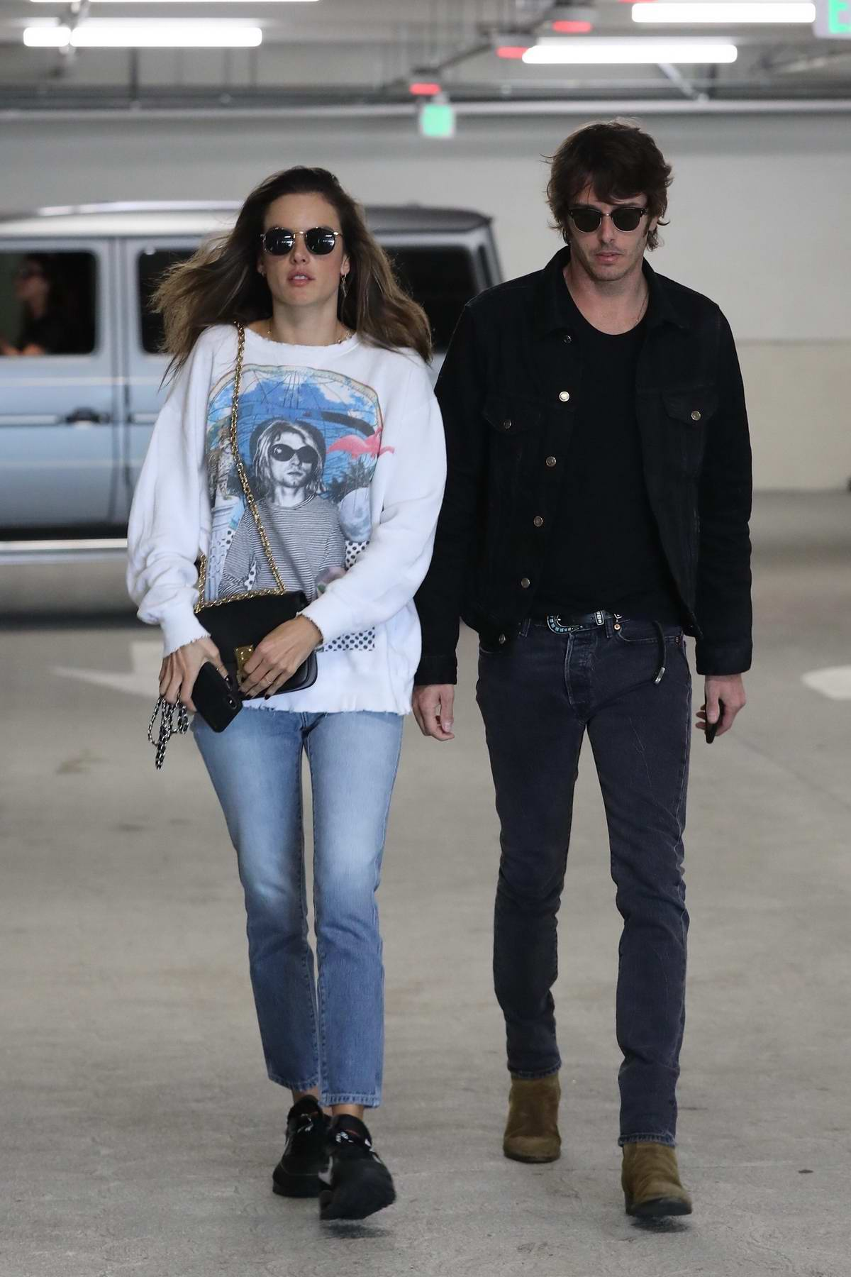 Alessandra Ambrosio and Nicolo Oddi steps out for a movie date in Century City, California