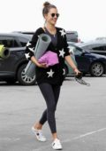 Alessandra Ambrosio is all smiles as she heads to a yoga studio with Nicolo Oddi in Venice Beach, California