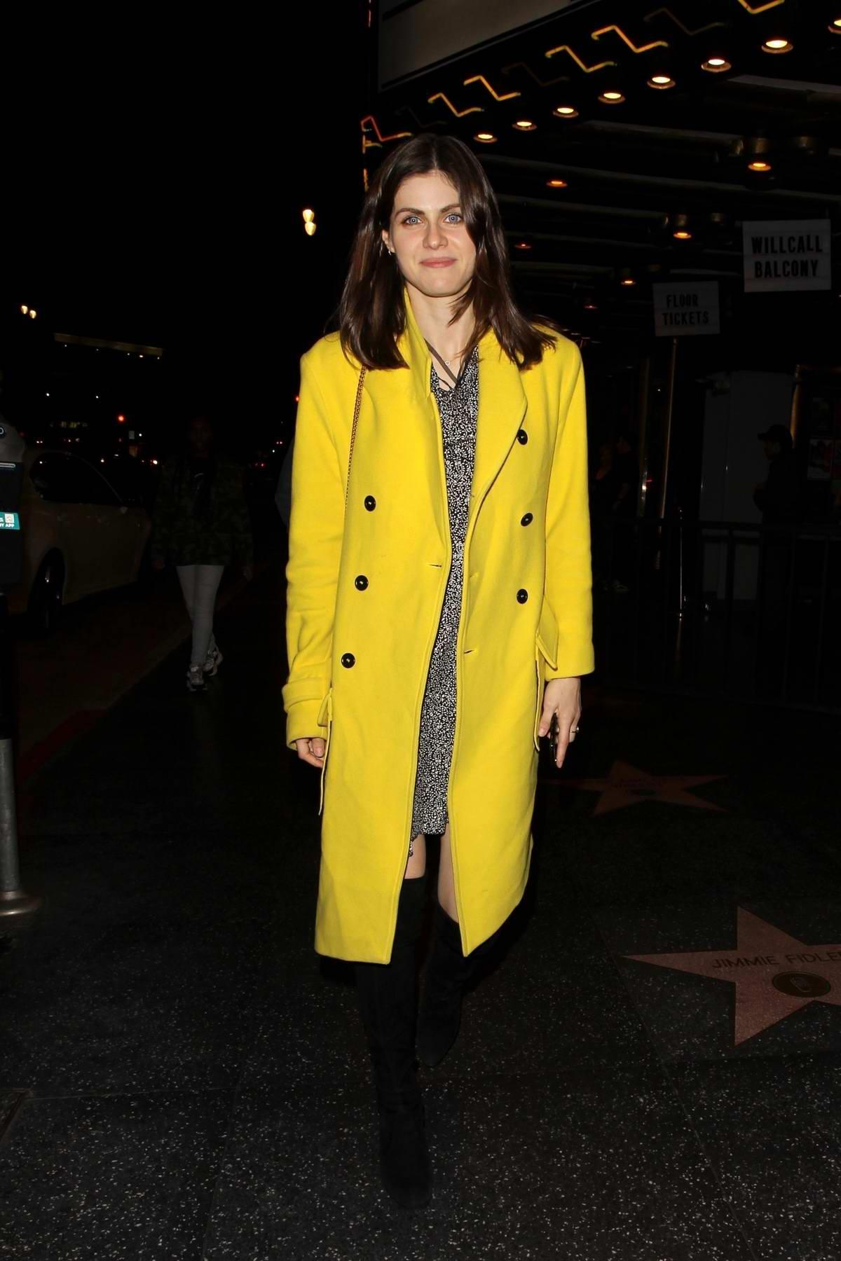 Alexandra Daddario seen leaving The Fonda Theatre after attending the Albert Hammond Jr. concert in Hollywood, California