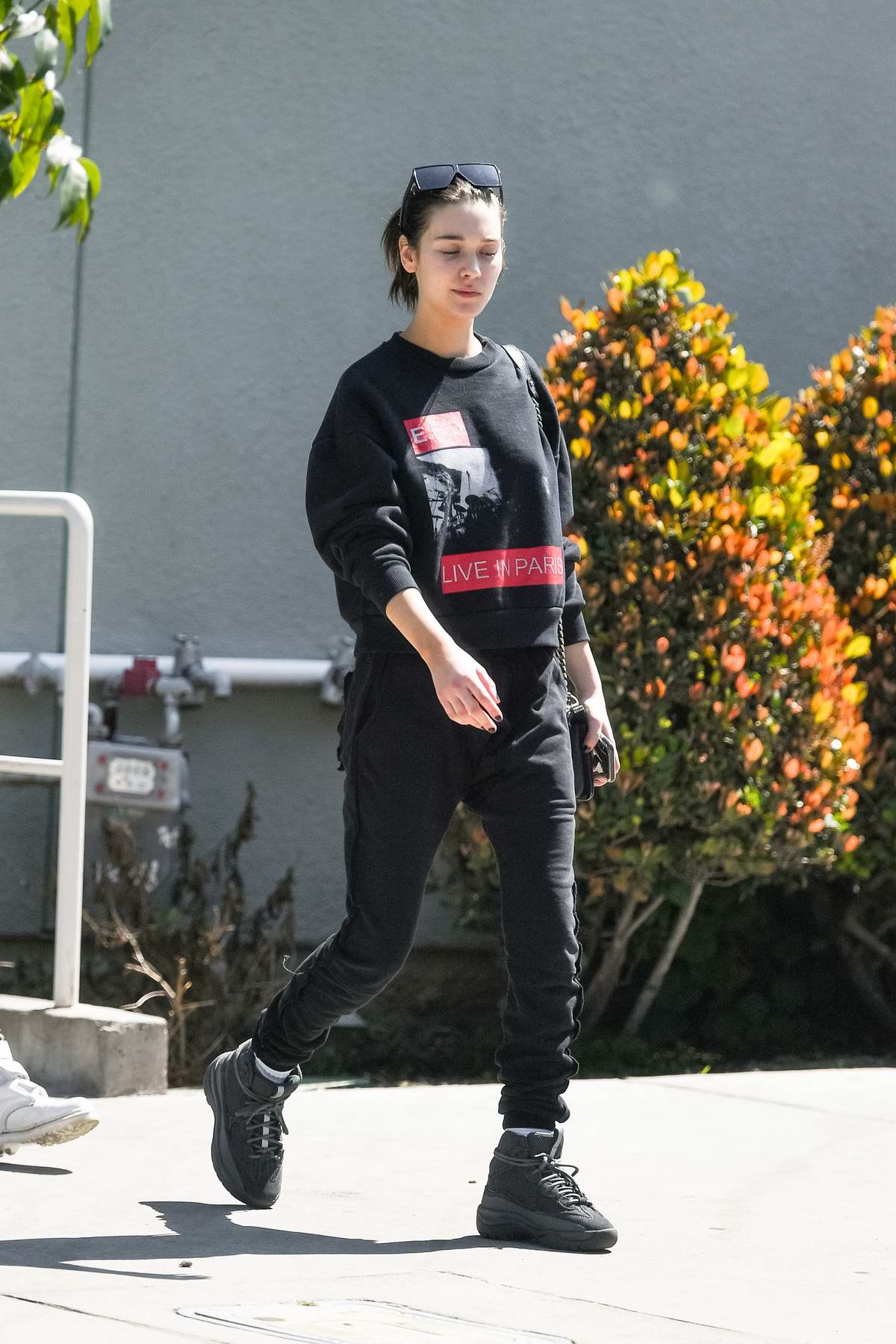 Amanda Steele keeps it casual with black sweats while out in Los Angeles