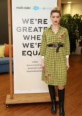 Amber Heard speaks at the Marie Claire International Women's Day event at Salesforce Tower in London, UK
