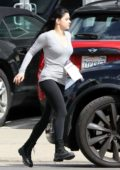 Ariel Winter wears a grey top and black leggings as she leaves after a recording session in Studio City, Los Angeles