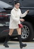 Ariel Winter wears a short turtleneck dress while stopping by Chick-fil-A in Los Angeles