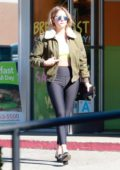 Ashley Benson looks casual in gym wear as she grabs some coffee in Los Angeles