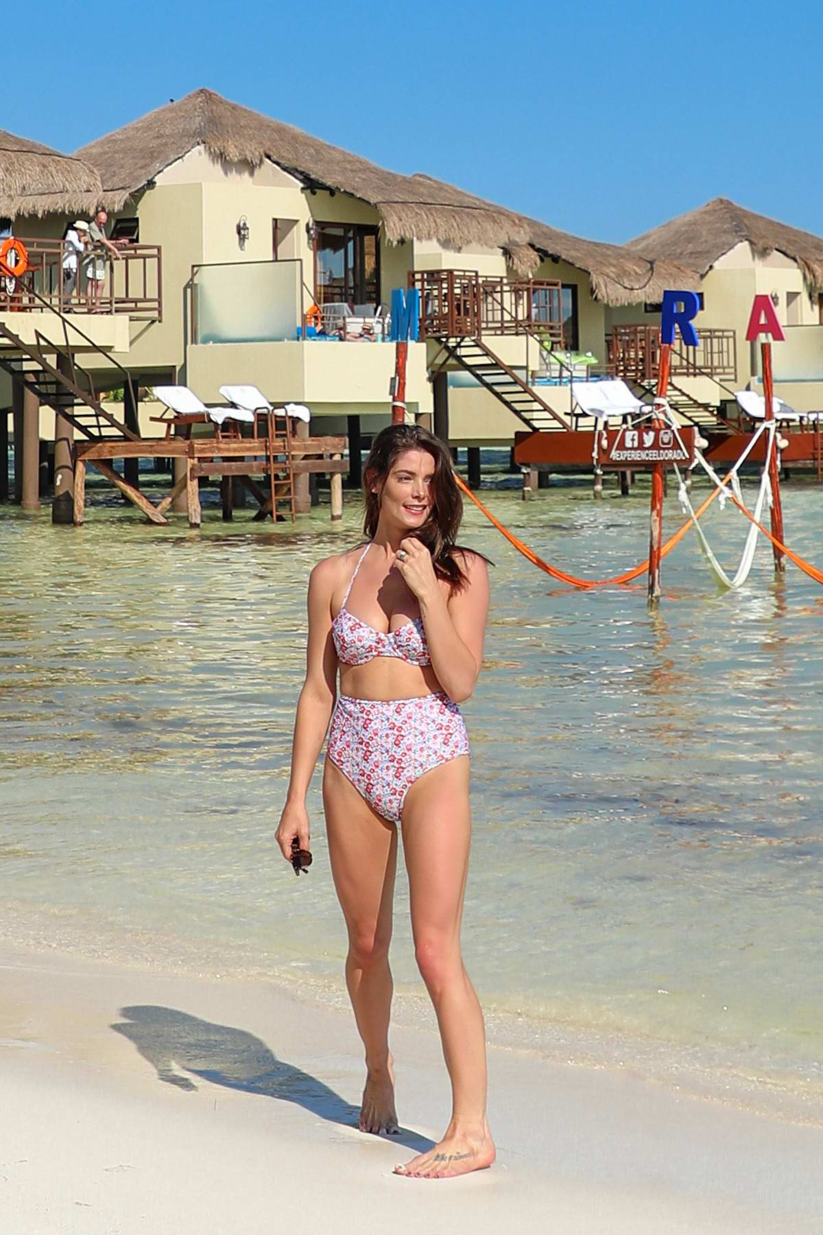 Ashley Greene spotted in a floral print bikini while on a romantic vacation with husband Paul Khoury in Mexico