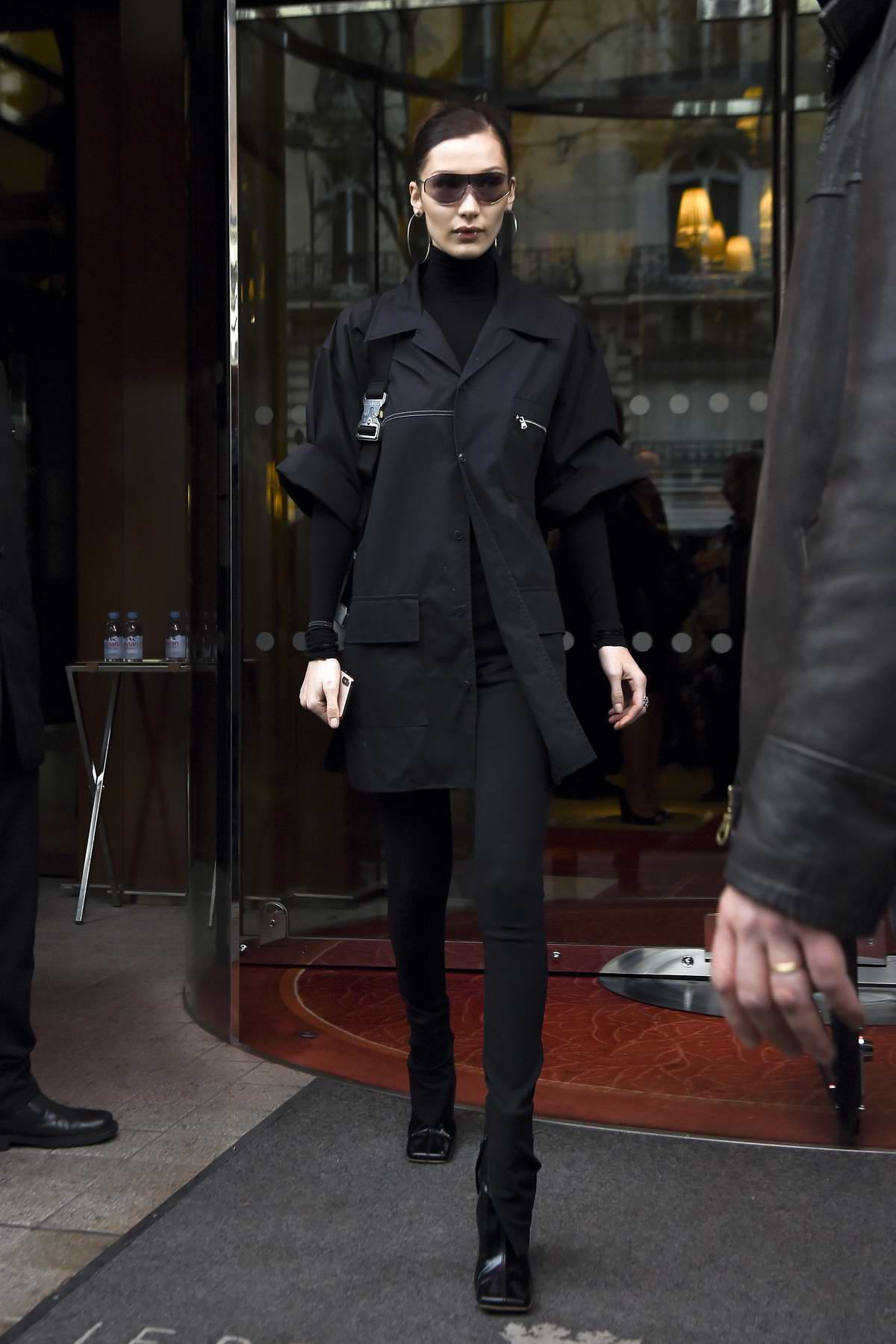 Bella Hadid dresses in all black as she leave Le Royal Monceau Hotel during PFW 2019 in Paris, France