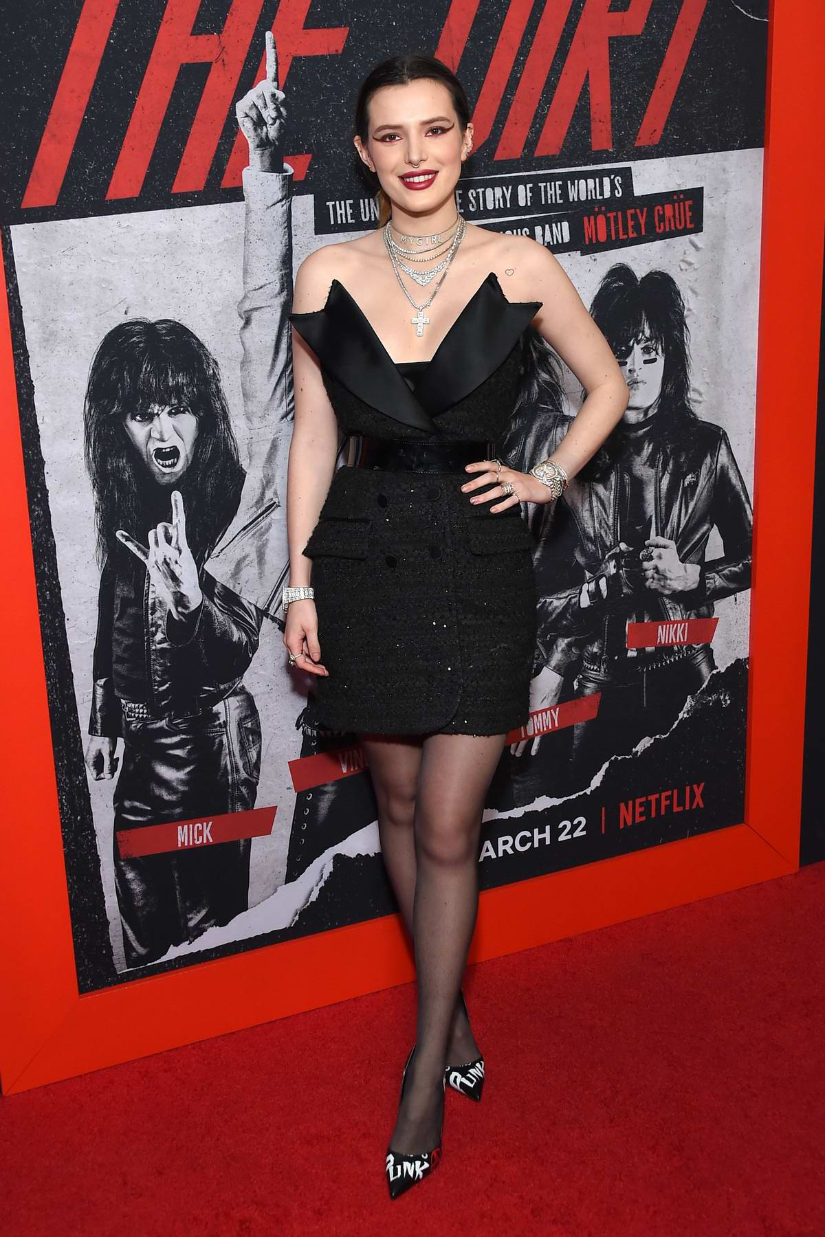 Bella Thorne attends the World Premiere of 'The Dirt' at ArcLight Hollywood in Los Angeles