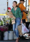 Bethany Joy Lenz does some weekend shopping with her daughter at the Farmer's Market in Studio City, Los Angeles