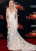 Brie Larson attends the World Premiere of 'Captain Marvel' at the El Capitan Theatre in Hollywood, California