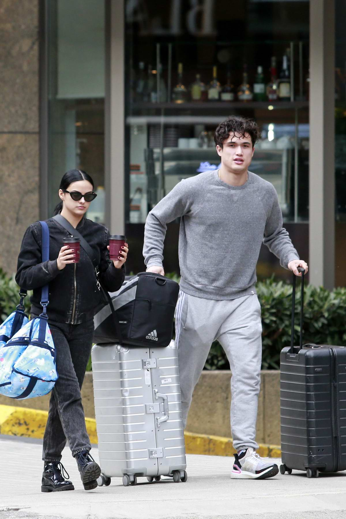 Camila Mendes seen while moving into Charles Melton's apartment in Vancouver, Canada