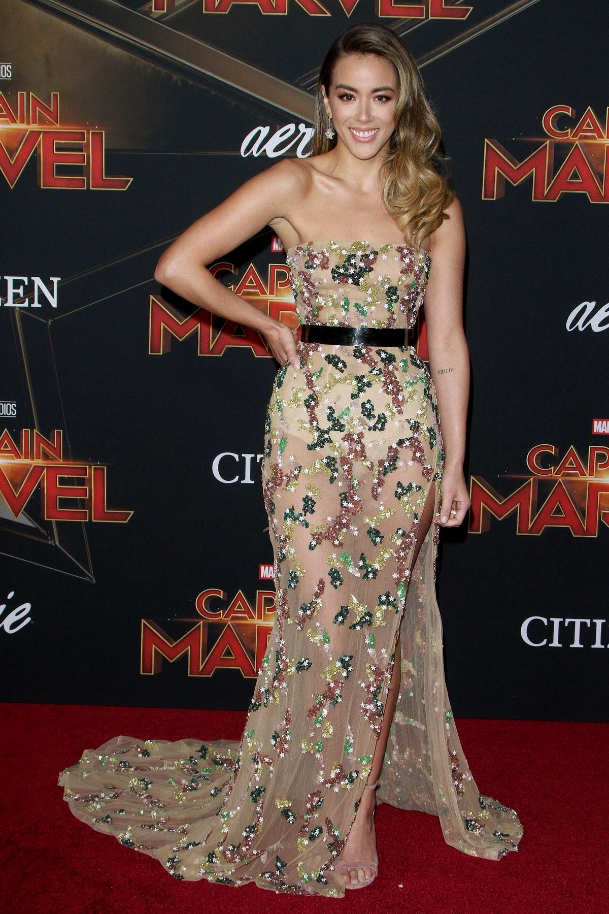 Chloe Bennet attends the World Premiere of 'Captain Marvel' at the El Capitan Theatre in Hollywood, California
