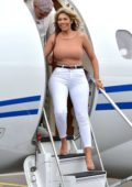 Chloe Ferry and boyfriend Sam Gowland arrives in style on a private jet in Newcastle, UK