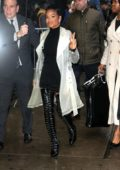 Christina Milian dons a short black dress with black thigh high boots while visiting Good Morning America in New York City