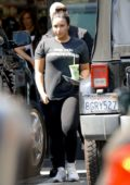 Demi Lovato spotted in a dark grey tee and black leggings as she grabs some juice after her workout in Los Angeles