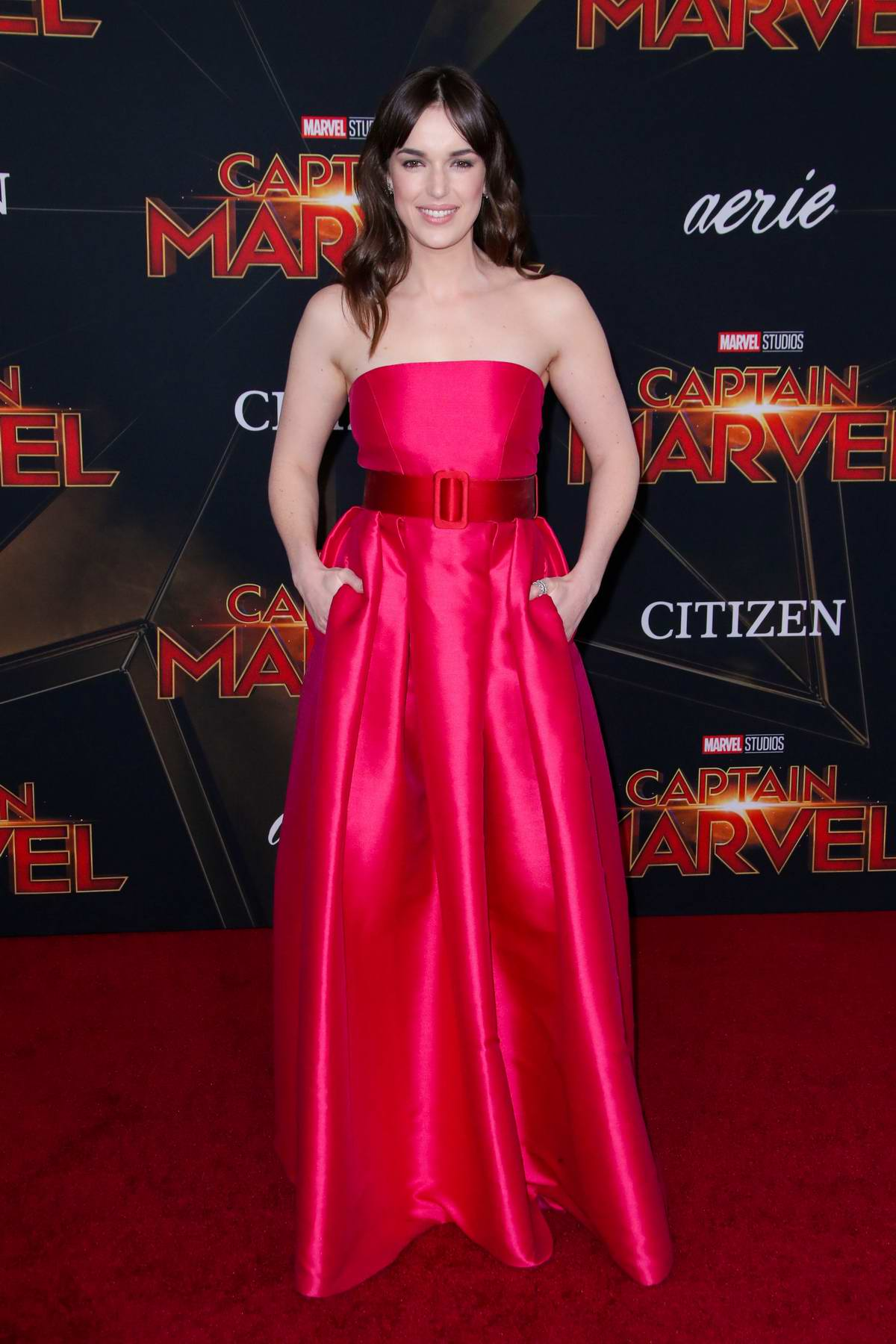Elizabeth Henstridge attends the World Premiere of 'Captain Marvel' at the El Capitan Theatre in Hollywood, California