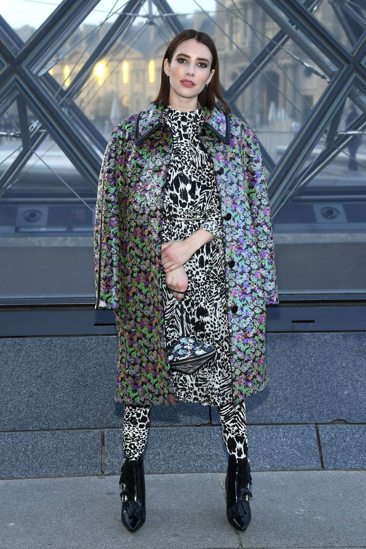 Emma Roberts attends the Louis Vuitton show during Paris Fashion Week F/W 2019/20 in Paris, France