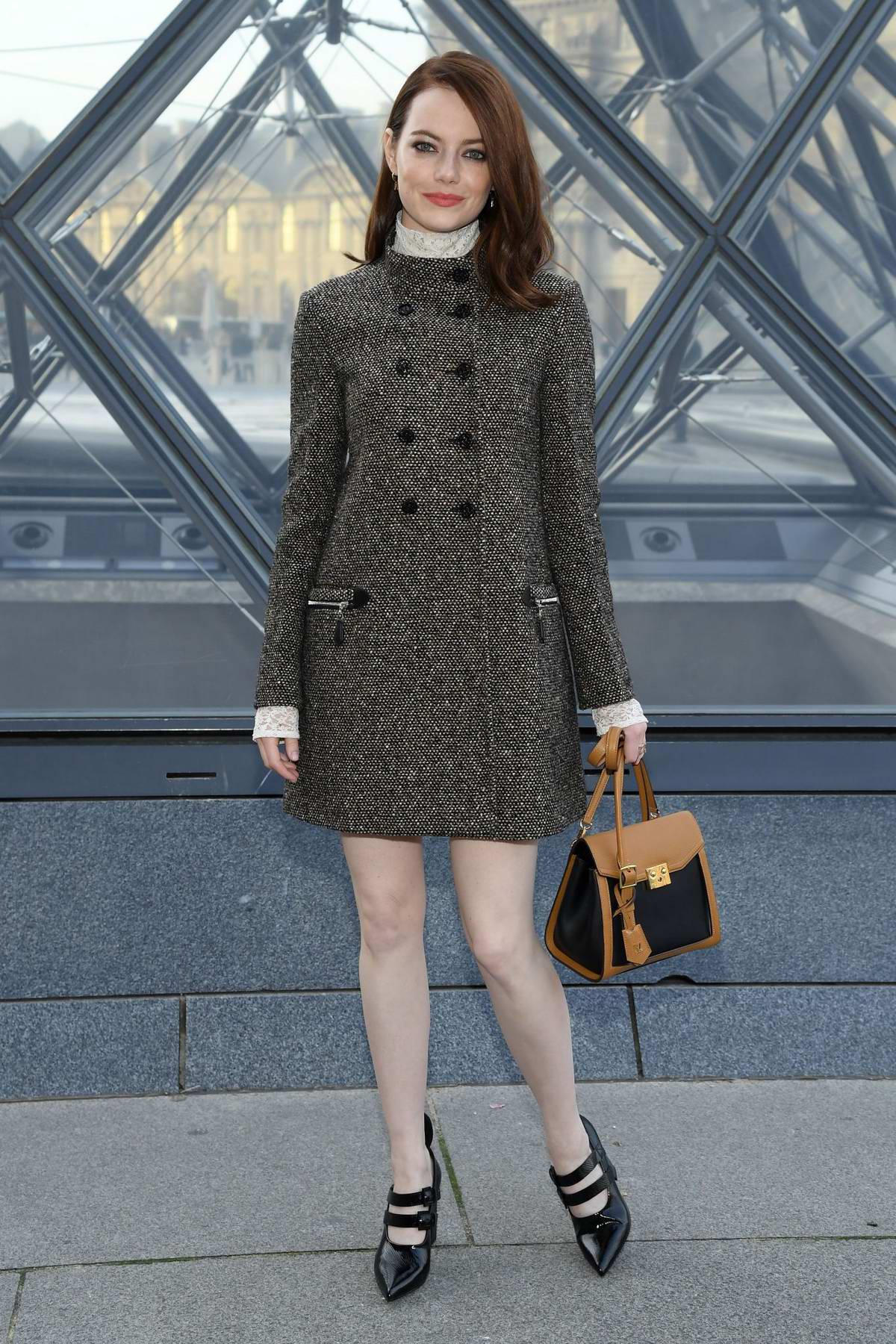 Emma Stone attends the Louis Vuitton show during Paris Fashion Week F/W 2019/20 in Paris, France