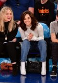 Emmy Rossum attends the game between the Los Angeles Lakers and New York Knicks in New York City