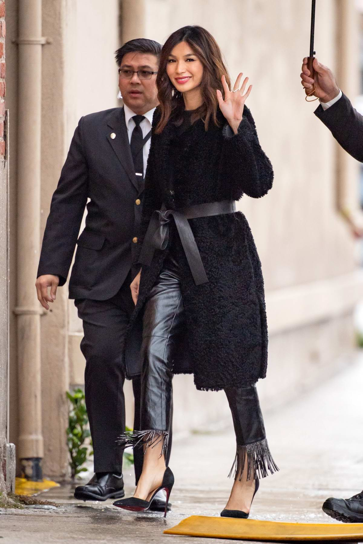 Gemma Chan arrives for her appearance on 'Jimmy Kimmel Live' in Los Angeles