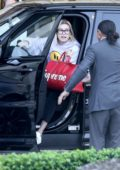 Hailey Baldwin Bieber dons 'Drew' happy face hoodie as she arrives at The Montage in Bevely Hills, Los Angeles