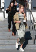 Hailey Baldwin Bieber gets frozen yogurt with mother-in-law Pattie Mallette in Laguna Beach, California
