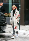 Hailey Baldwin Bieber rocks an Off-White coat as she leaves her apartment in New York City