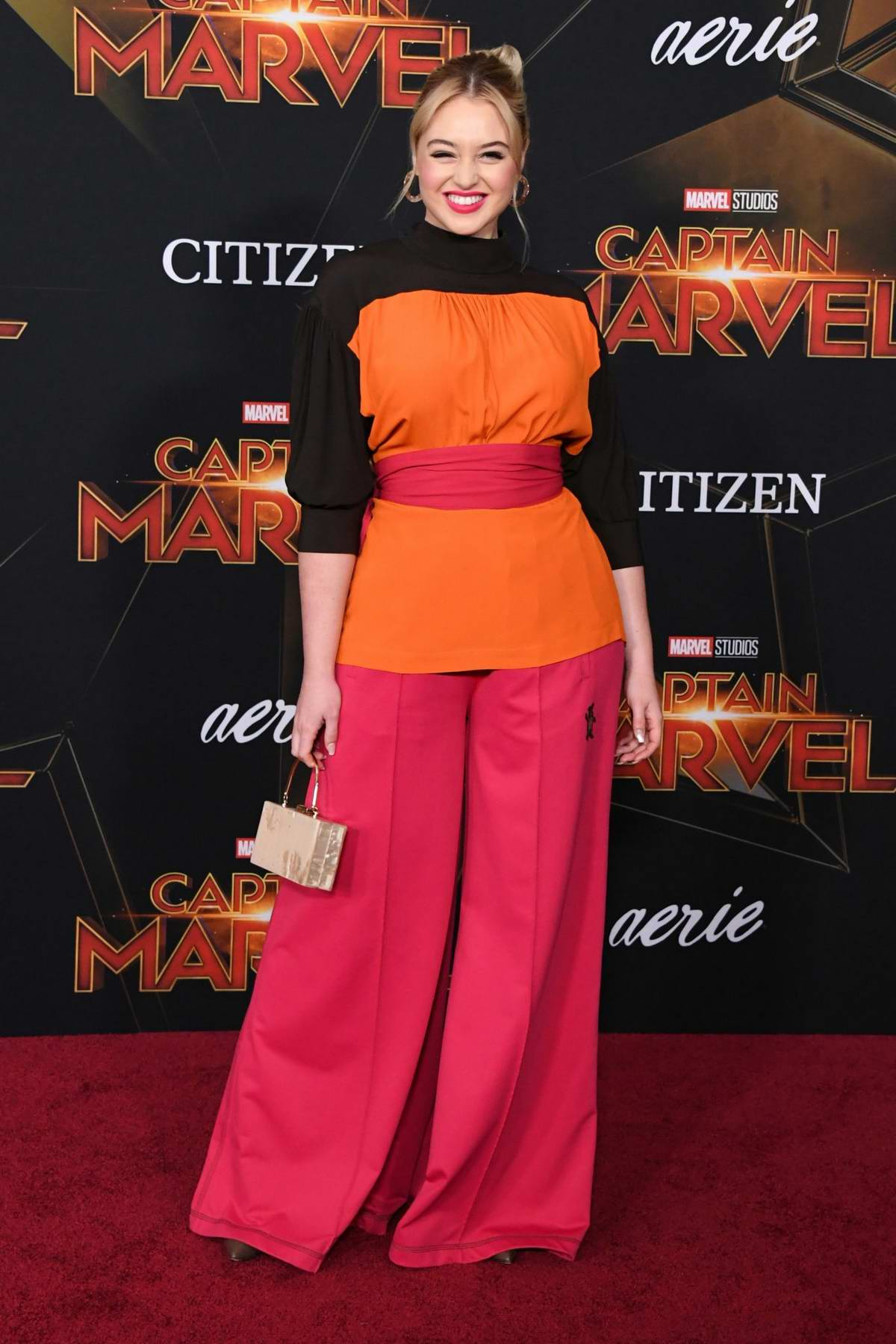 Iskra Lawrence attends the World Premiere of 'Captain Marvel' at the El Capitan Theatre in Hollywood, California