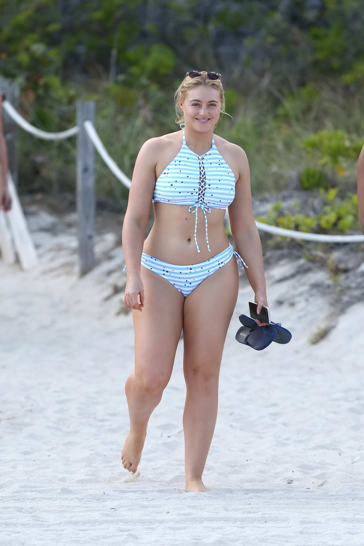 Iskra Lawrence spotted during a bikini photoshoot for Aerie on Miami Beach, Florida