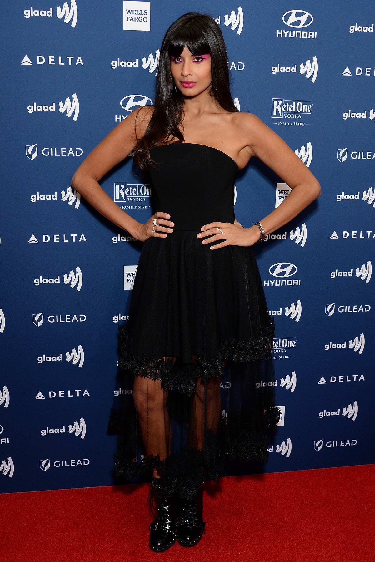 Jameela Jamil attends the 30th Annual GLAAD Media Awards at The Beverly Hilton Hotel in Beverly Hills, California