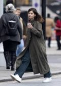 Jenna Coleman seen on a coffee run to 'Pret a manger' after taking a break from rehearsals in London, UK