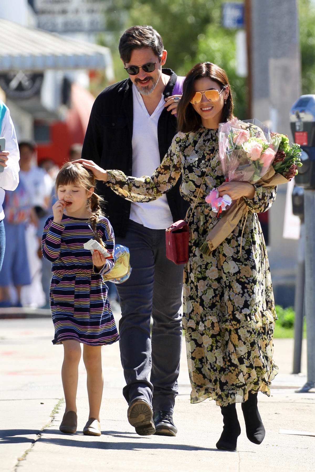 Jenna Dewan and her daughter step out for an afternoon walk with Steve Kazee in West Hollywood, Los Angeles