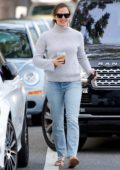 Jennifer Garner is in a happy mood while out grabbing coffee in Los Angeles