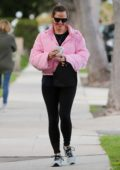 Jennifer Garner looks perfect in a pink puffer jacket and black leggings as she hits the gym for her boxing practice in Los Angeles
