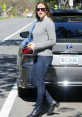Jennifer Garner steps out in a grey sweater and skin tight jeans to pick up her kids from school in Santa Monica, California