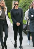 Jennifer Garner wears broken heart jumper and black leggings while out for a walk with her friends in Santa Monica, California