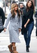 Jennifer Lopez seen wearing a robe while on the set of 'Hustlers' with sister Lynda Lopez in New York City
