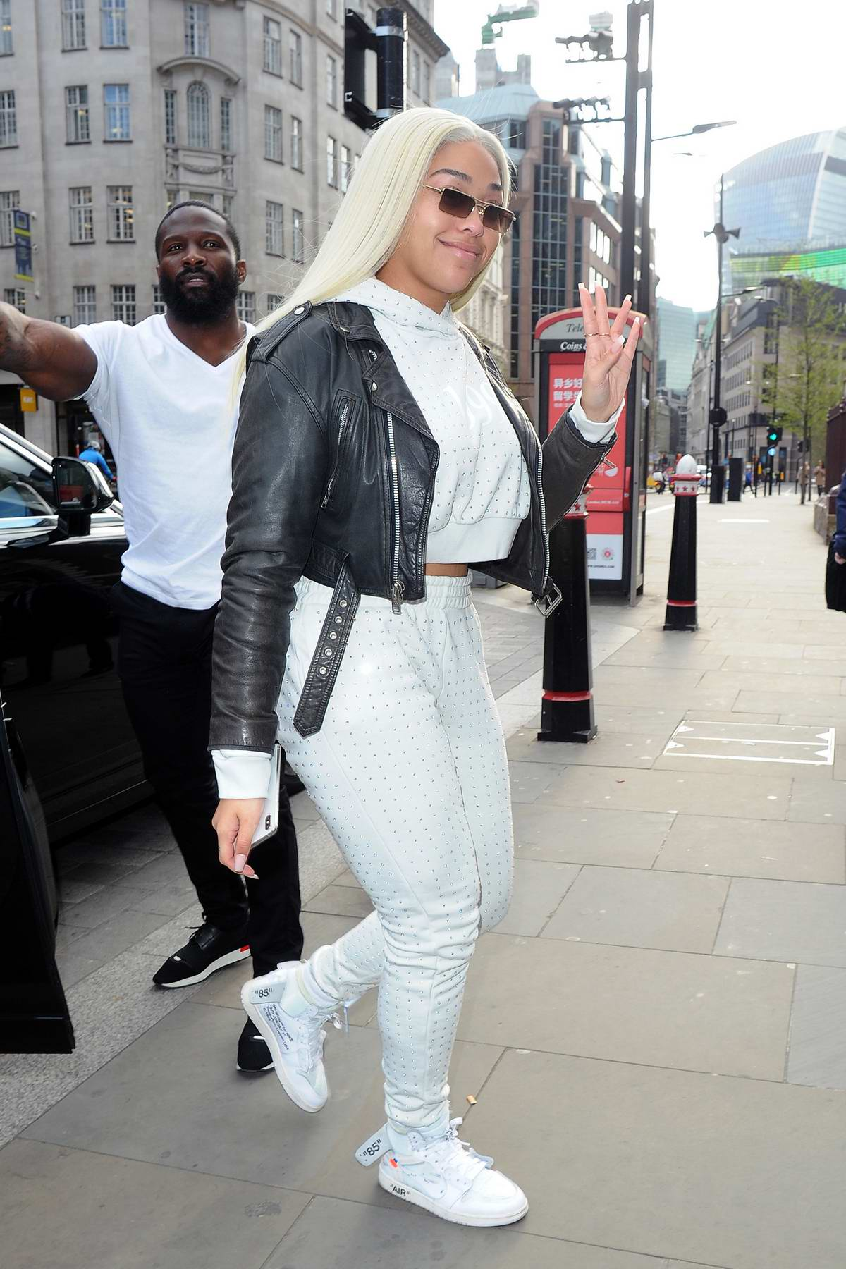 Jordyn Woods leaving her hotel with a new blonde hairstyle in London, UK