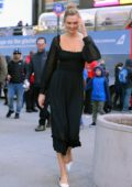 Karlie Kloss looks lovely in a black dress as she visits the TODAY show in New York City