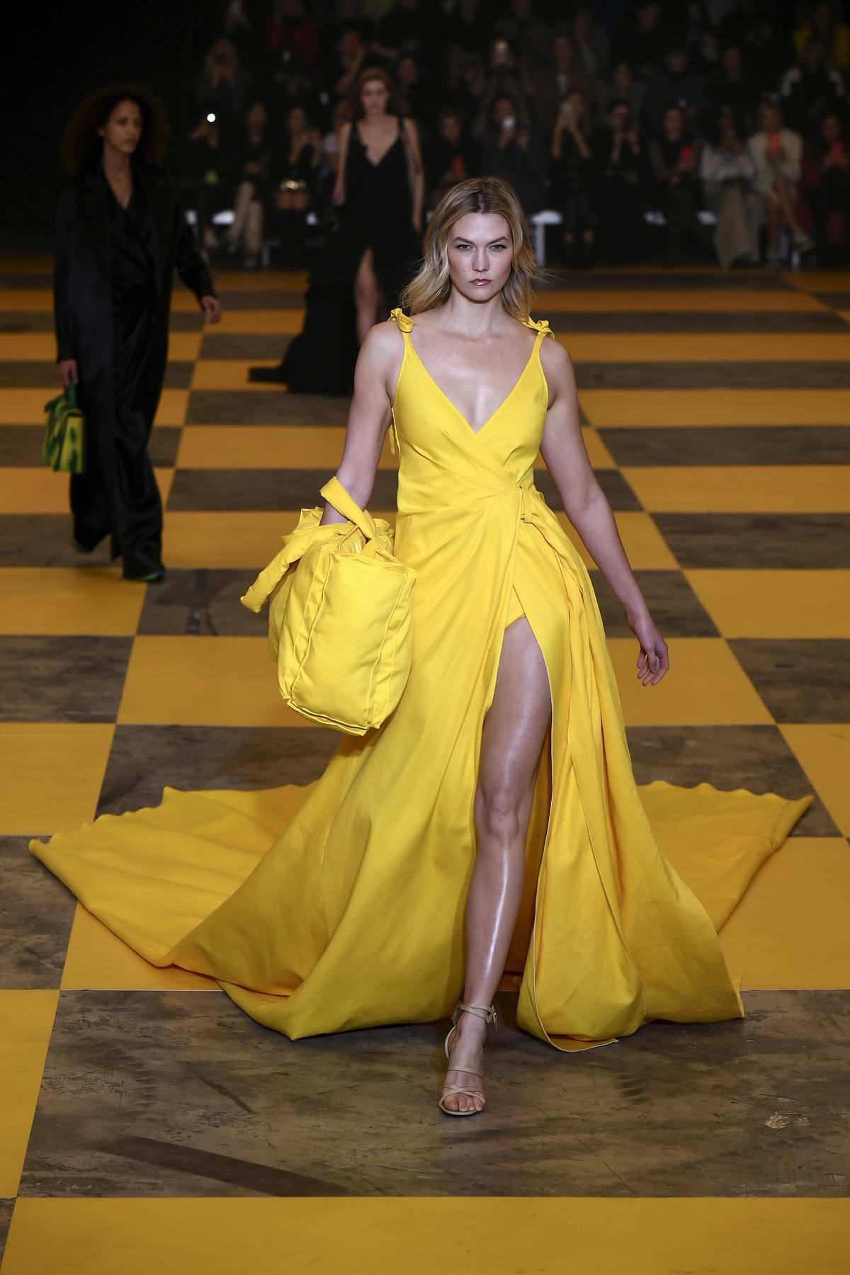 Karlie Kloss walks the runway at the Off-White Women's F/W 2019/20 Fashion Show during Paris Fashion Week in Paris, France