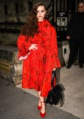 Katherine Langford looks stunning in red while attending the Valentino show during Paris Fashion Week F/W 2019/20 in Paris, France