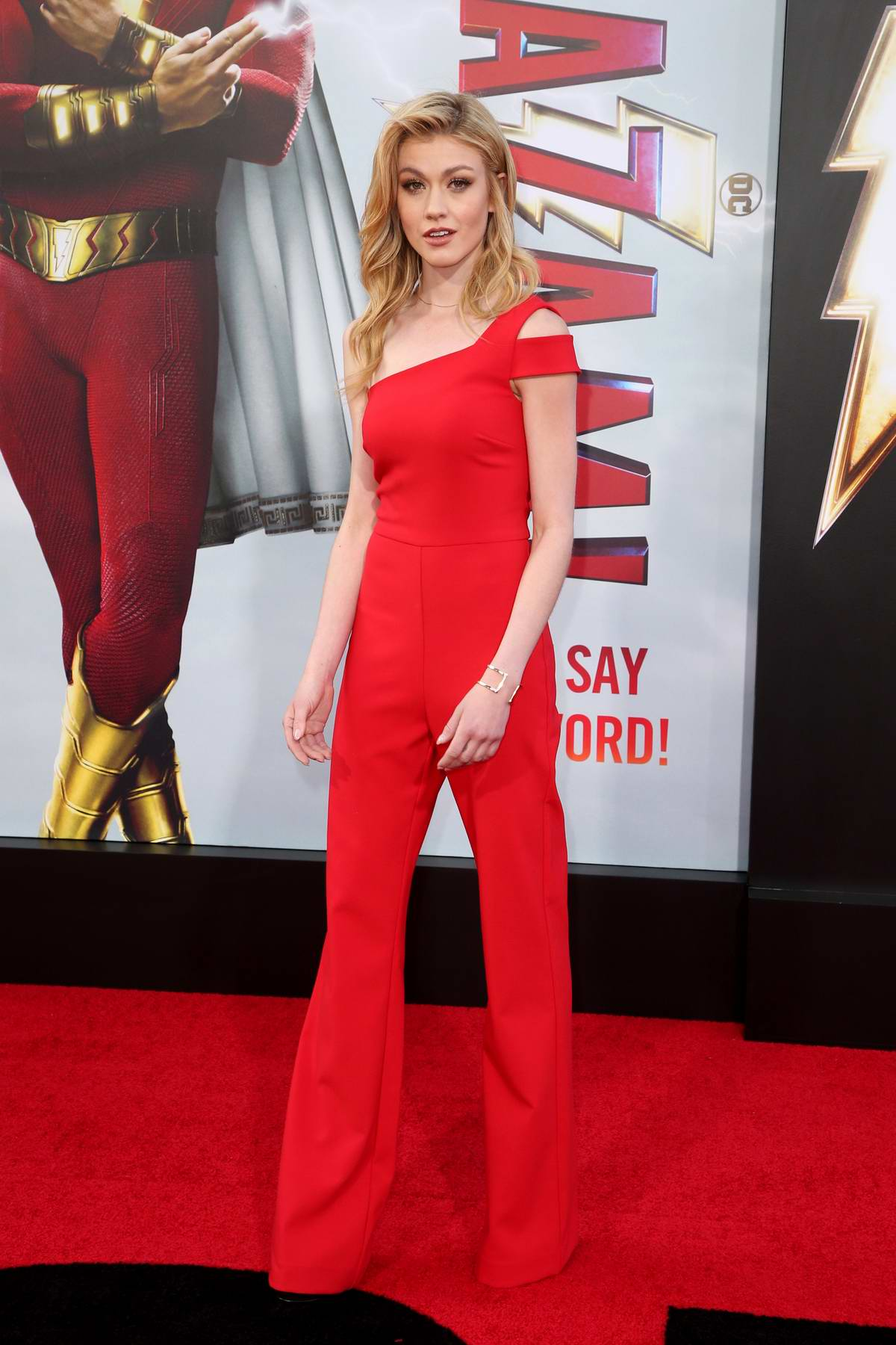 Katherine McNamara attends Shazam! World Premiere held at the TCL Chinese Theatre in Los Angeles