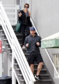 Katherine Schwarzenegger and Chris Pratt are all smiles as they leave the gym in Los Angeles