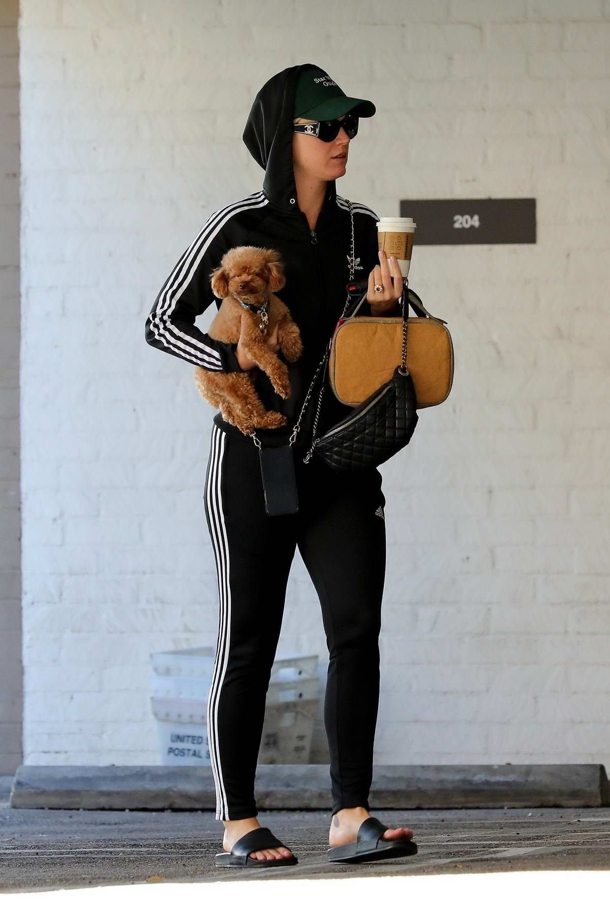 Katy Perry sports a black Adidas hoodie with matching leggings while out running errands with her dog in Beverly Hills, Los Angeles