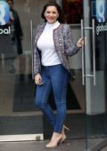 Kelly Brook looks pretty in skin tight jeans and cropped tweed jacket as she arrives at Global Radio studios in London, UK