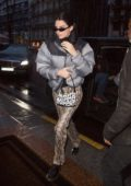 Kendall Jenner rocked Lonchamp bag, North Face puffy jacket and snakeskin print pants as she arrives at her hotel in Paris, France