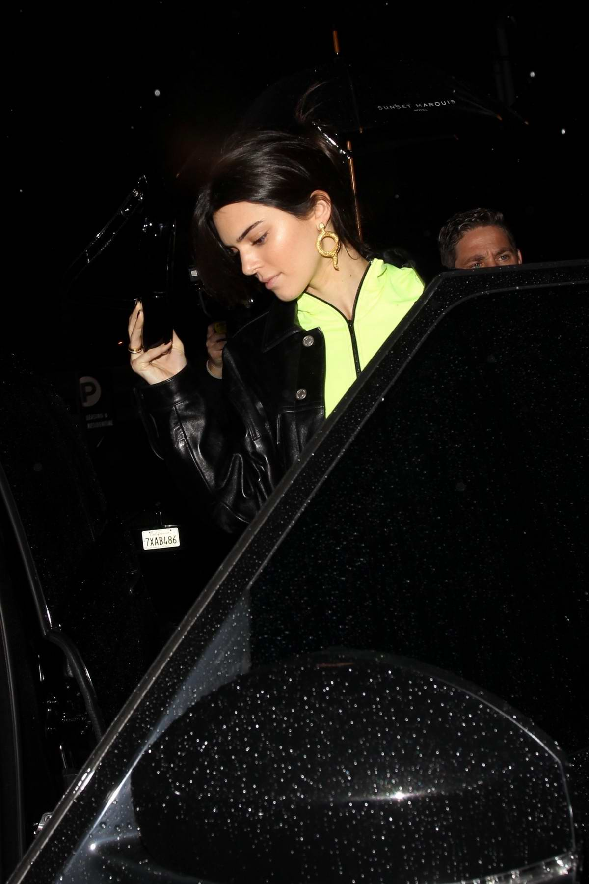 Kendall Jenner seen leaving Madison Beer's birthday party at The Nice Guy in West Hollywood, Los Angeles